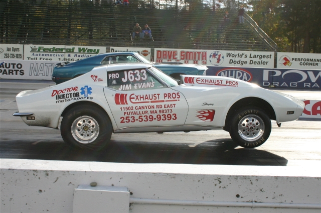 Jim's 1973 Corvette does a wheel's up launch