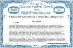 Conservative Credit Certificate Issued to Perri Nelson.